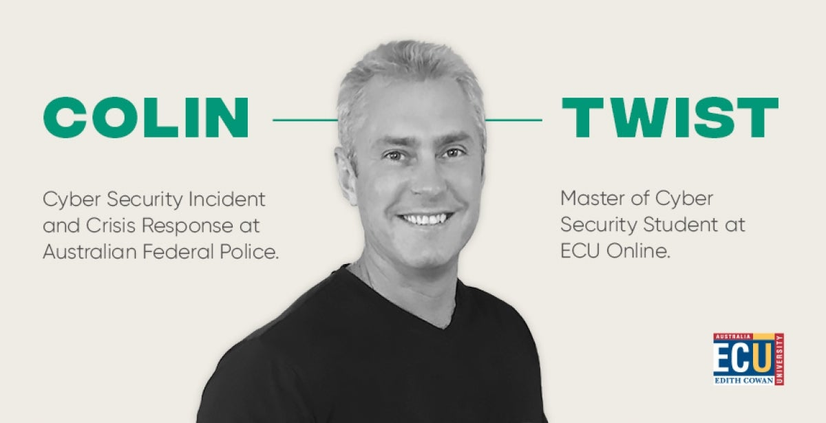 A photo of ECU Master of Cyber Security Student Colin Twist, he is wearing a black shirt and smiling.